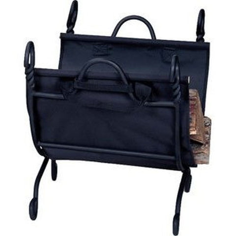 Black Ring Swirl Log Holder with Canvas Carrier - Colorado Fireplace Supply