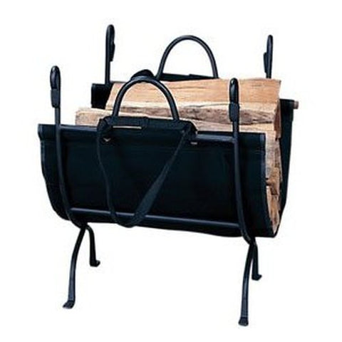 Deluxe Wrought Iron Log Holder with Canvas Carrier