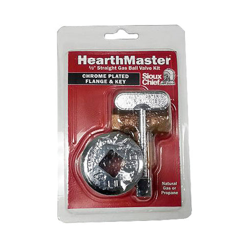 HearthMaster Gas Shut Off Valve with Chrome Escutcheon Key - Colorado Fireplace Supply