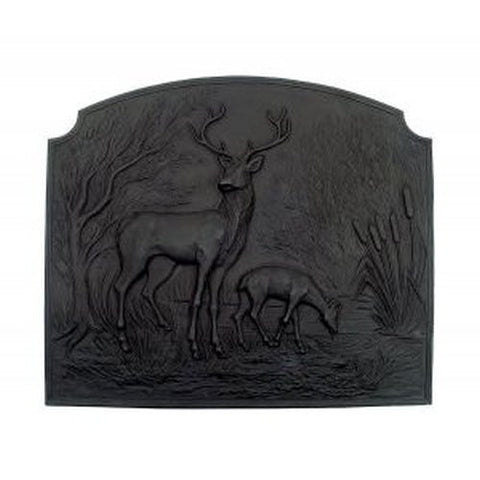 "Scenic Wide Deer Cast Iron Heat Reflective 28"" Fireplace Fireback - Colorado Fireplace Supply"