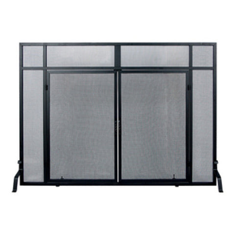 Windowpane Fireplace Mesh Screen with Cabinet Doors - Colorado Fireplace Supply