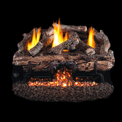 "Peterson Real Fyre Vent Free G10 Burner with 30"" Charred Split Oak Log Set - Colorado Fireplace Supply"