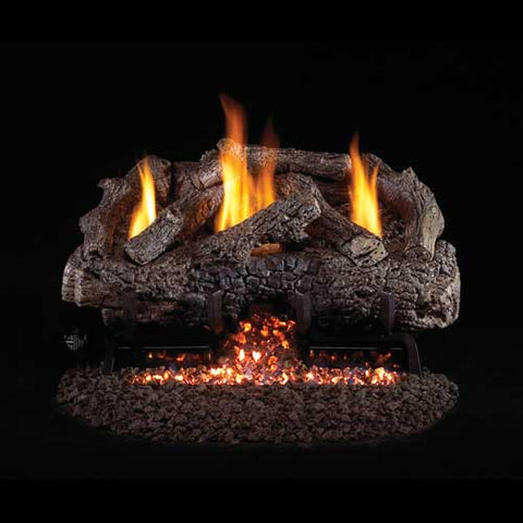 "Peterson Real Fyre Vent Free G10 Burner with 30"" Charred Frontier Oak Log Set - Colorado Fireplace Supply"