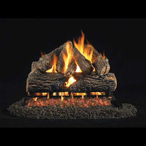 "Peterson Real Fyre Vented G4 Burner with 18"" Charred Oak Log Set - Colorado Fireplace Supply"