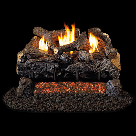 "Peterson Real Fyre Vent Free G18 Burner with 24"" Charred Evening Fyre Log Set - Colorado Fireplace Supply"