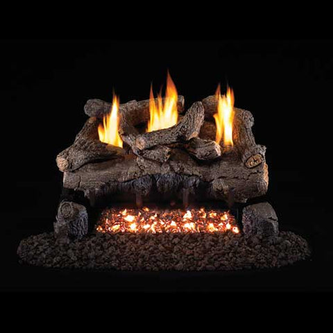 "Peterson Real Fyre Vent Free G18 Burner with 30"" Charred Evening Fyre Log Set - Colorado Fireplace Supply"