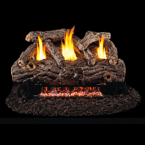 "Peterson Real Fyre Vent Free G9 Burner with 20"" Golden Oak Log Set - Colorado Fireplace Supply"
