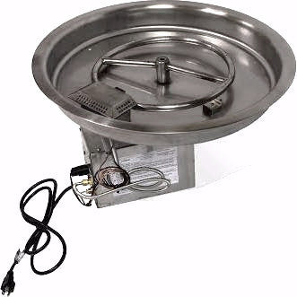 "Round Bowl 13"" Pan Electronic Ignition Fire Pit Insert (LP) - Colorado Fireplace Supply"