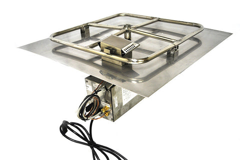 "Flat Square 18"" Pan Electronic Ignition Fire Pit Insert (NG) - Colorado Fireplace Supply"