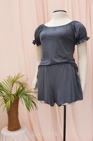 Puff Sleeves Top and Shorts Shorty Set - Stone Gray