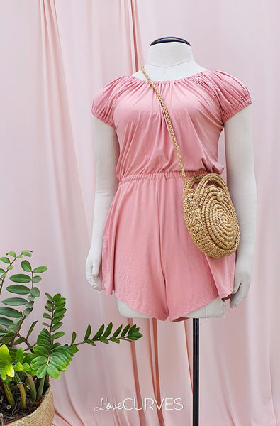 Puff Sleeves Romper - Blush