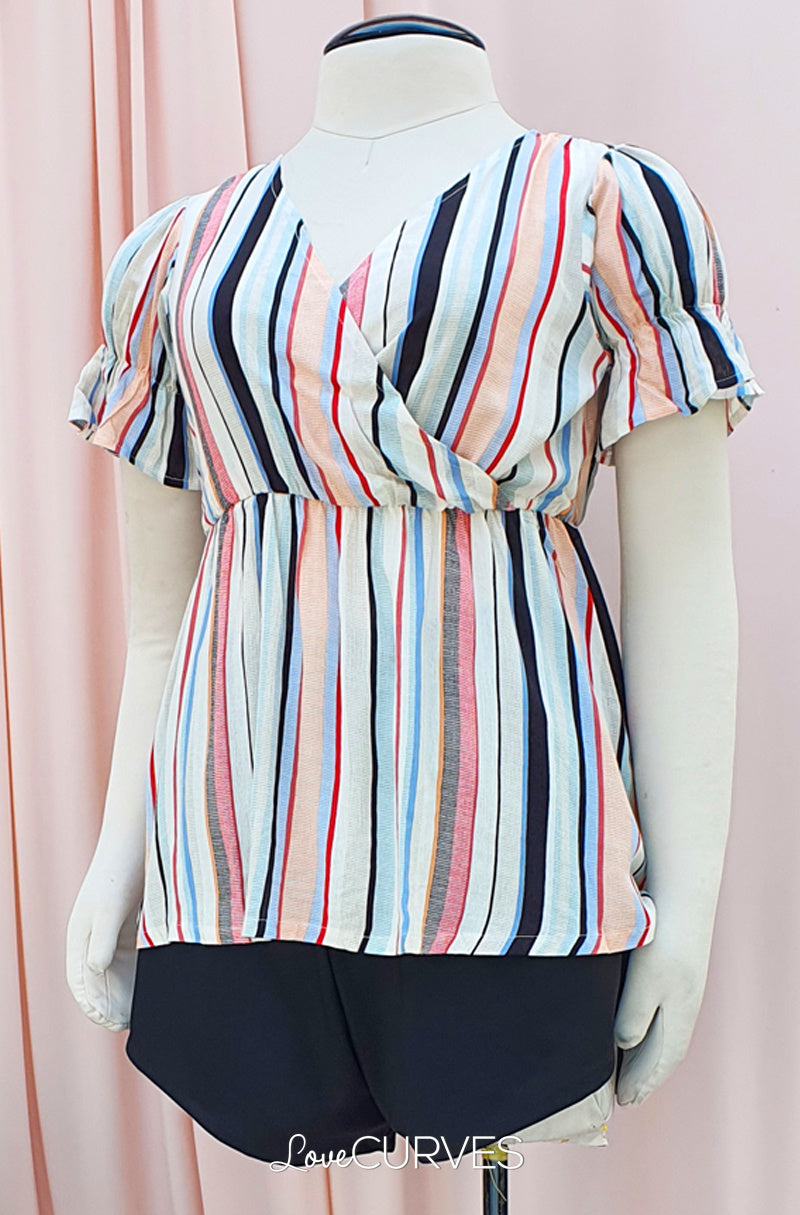Puff Sleeves Wrap Top - Vacay Stripes