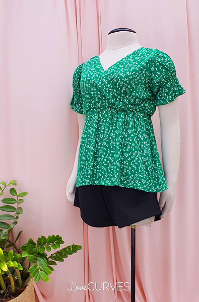Puff Sleeves Wrap Top - Bright Green Field