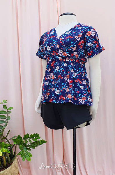 Puff Sleeves Wrap Top - Blue Blooms