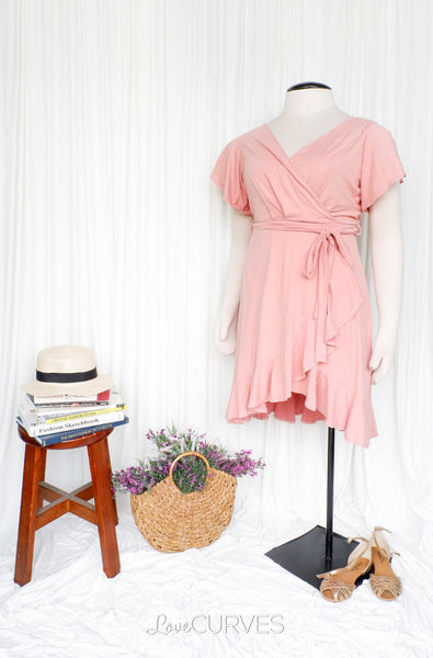 Ruffle Wrap Dress with Sash Belt - Blush
