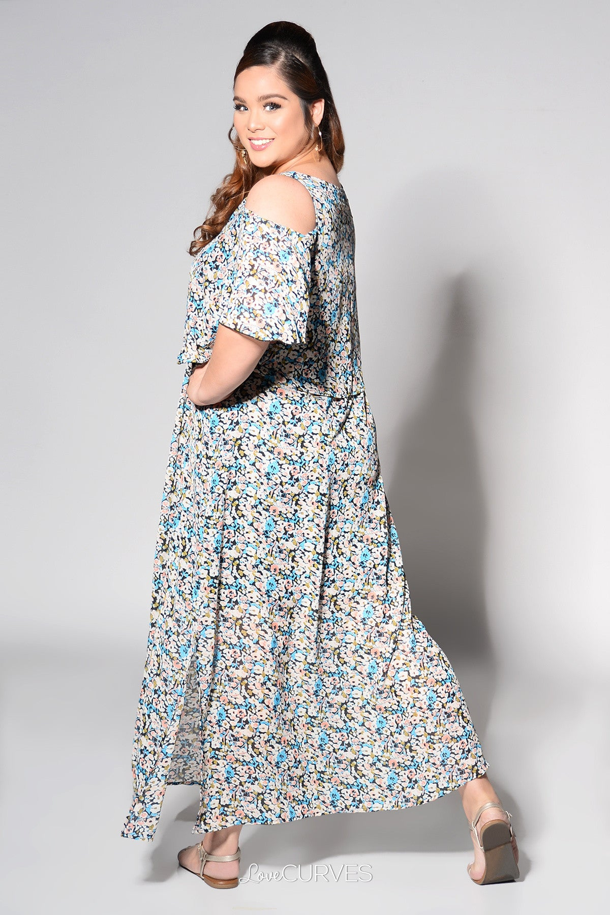 Cold Shoulder Layered Maxi Dress - Blue Floral - REE