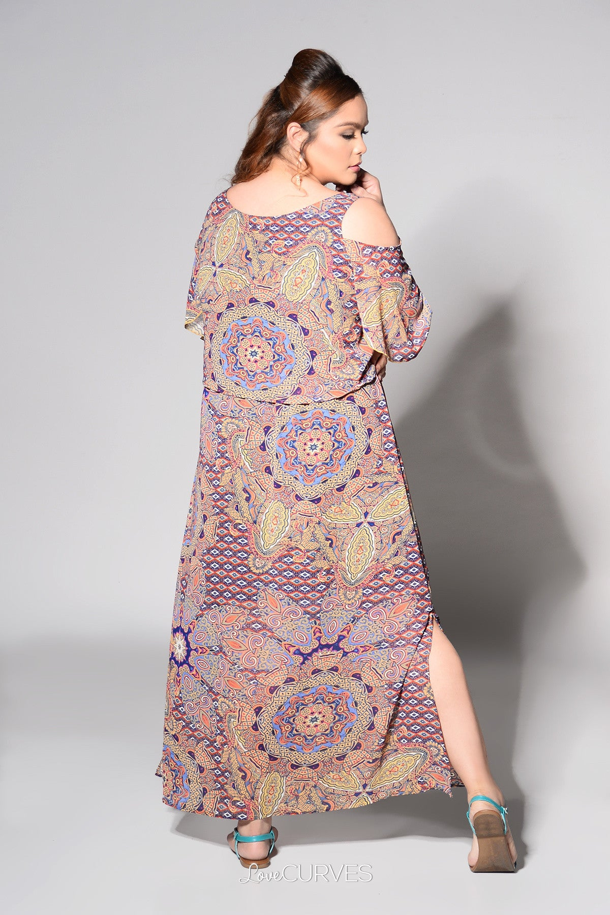 Cold Shoulder Layered Maxi Dress - Arabian Walls - REE