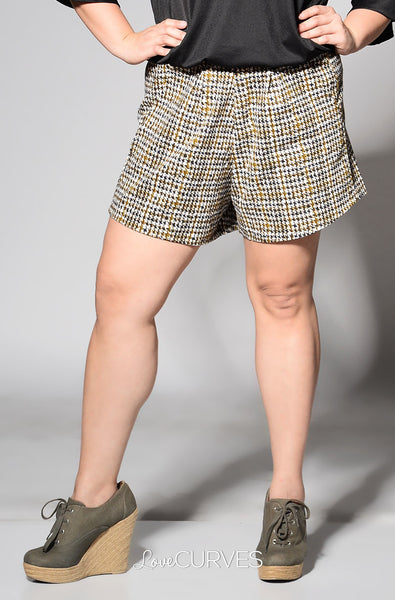 Pintucked Shorts with Pockets - Camo Houndstooth - FLO