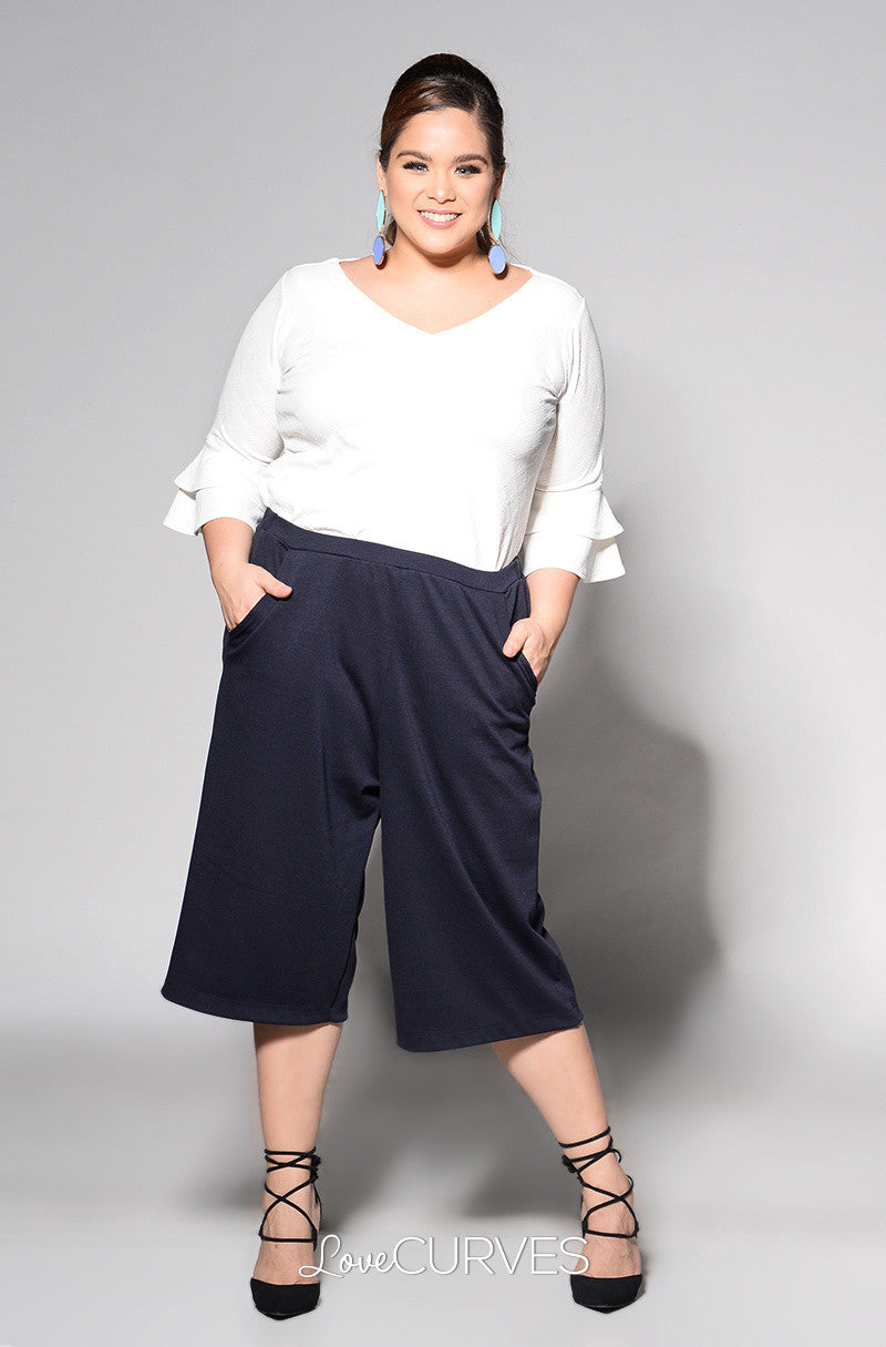 Basic Culottes with Side Pockets - Midnight Blue - REE