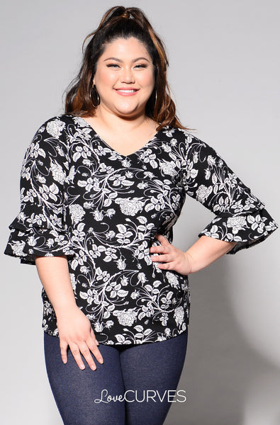 Layered Ruffle Sleeves V-Neck Top - Black Florals - REE