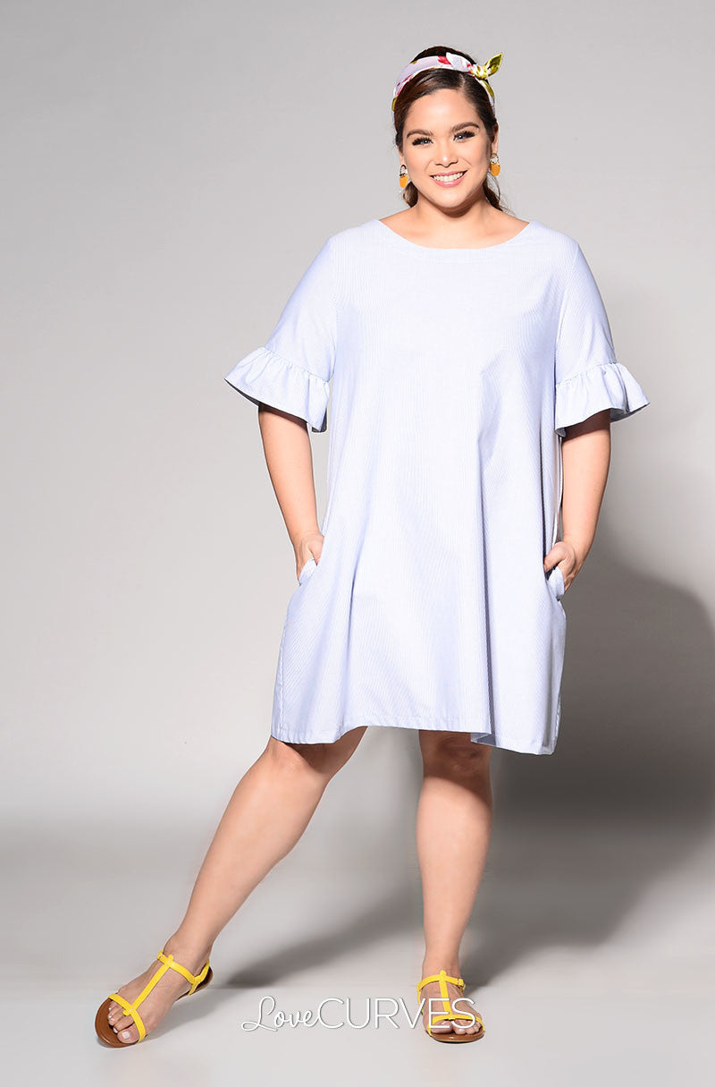 Ruffled Sleeves Shift Dress - Light Blue Stripes - REE