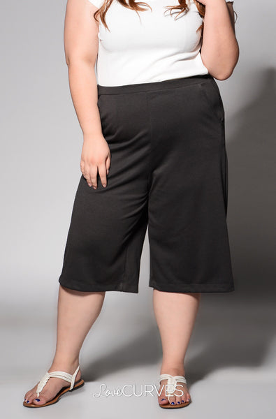 Basic Culottes with Side Pockets - Dark Gray - REE