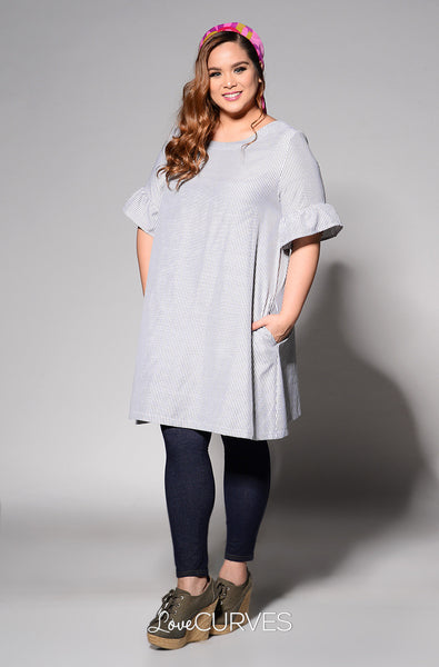 Ruffled Sleeves Shift Dress - Dark Gray Stripes - REE