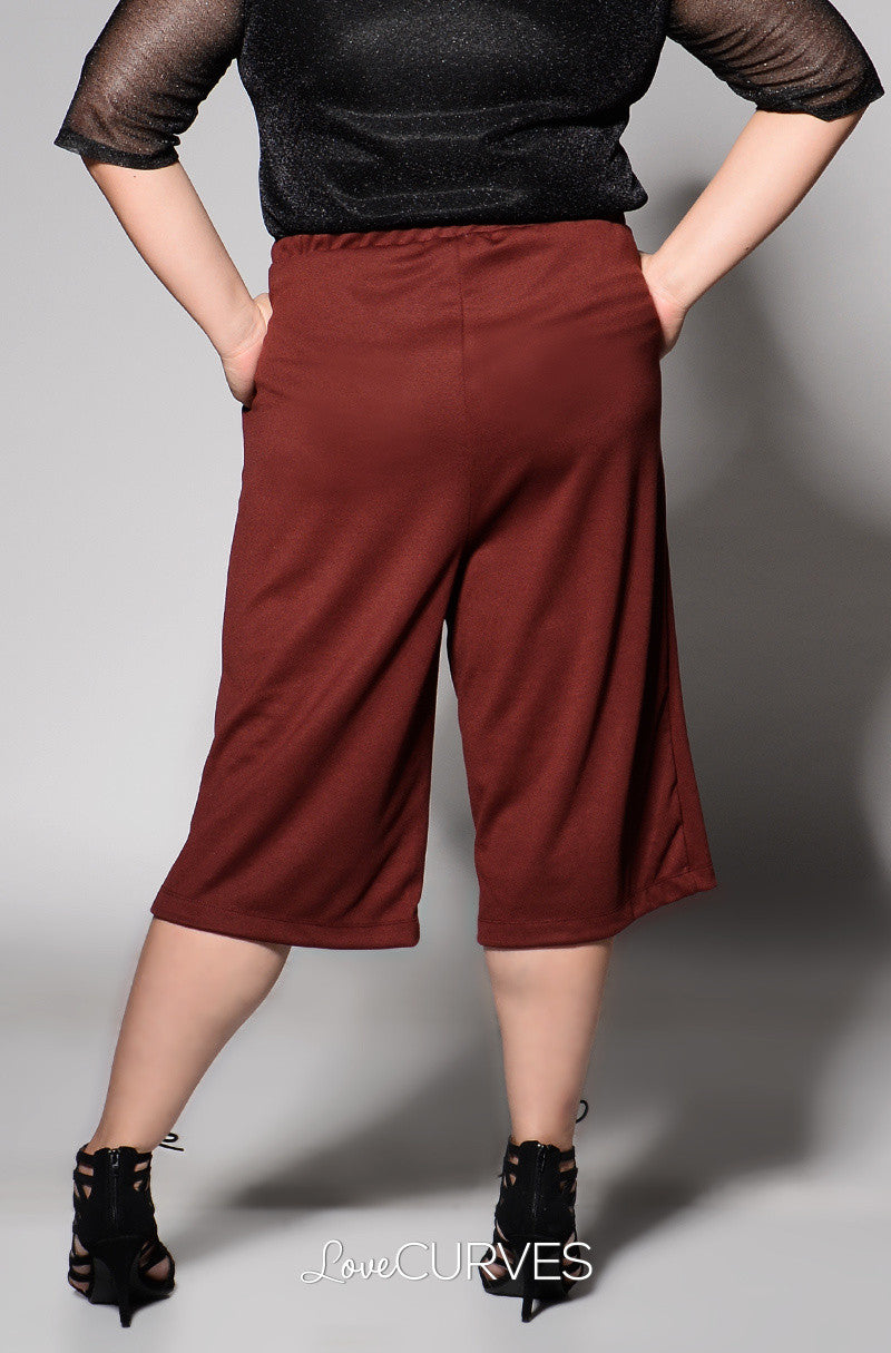 Basic Culottes with Side Pockets - Deep Sanguine - REE