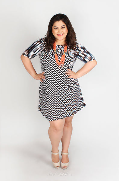 Shift Dress with Front Welt Pockets - TWI