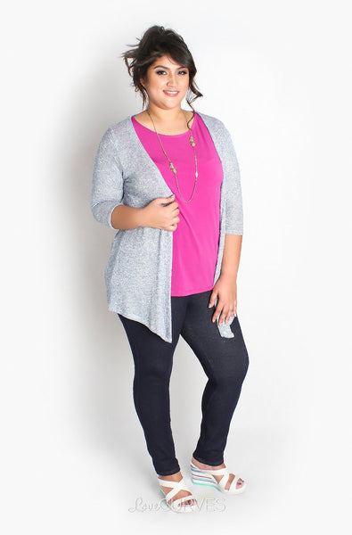 Open Front Quarter Sleeves Cardigan - JES