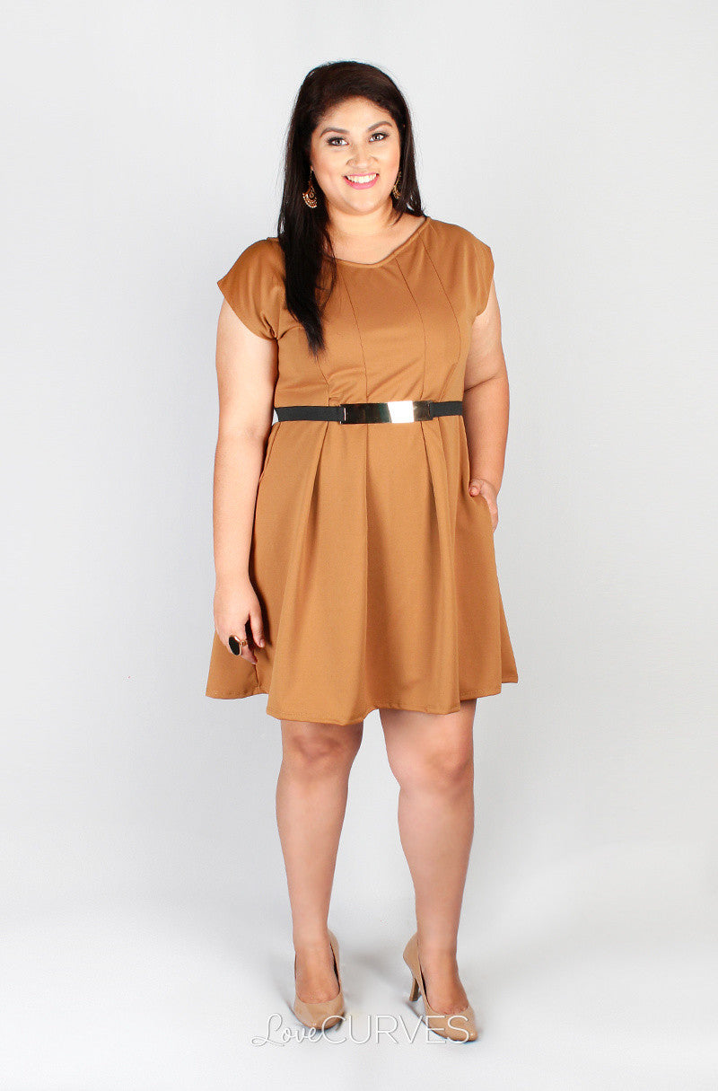 V- Neck Pleated Fit and Flare Dress with Side Pockets - GRA