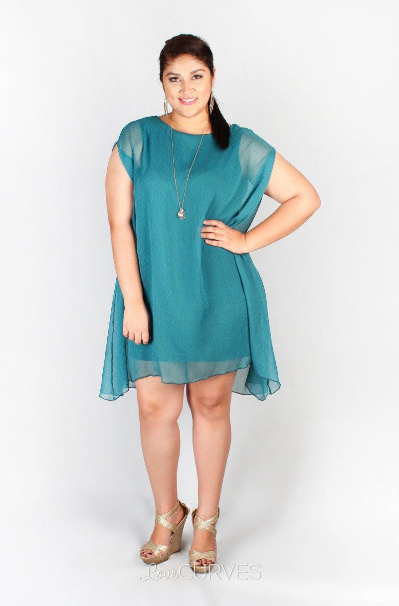 Sleeveless Fitted Short Dress with Chiffon Overlay- GRA