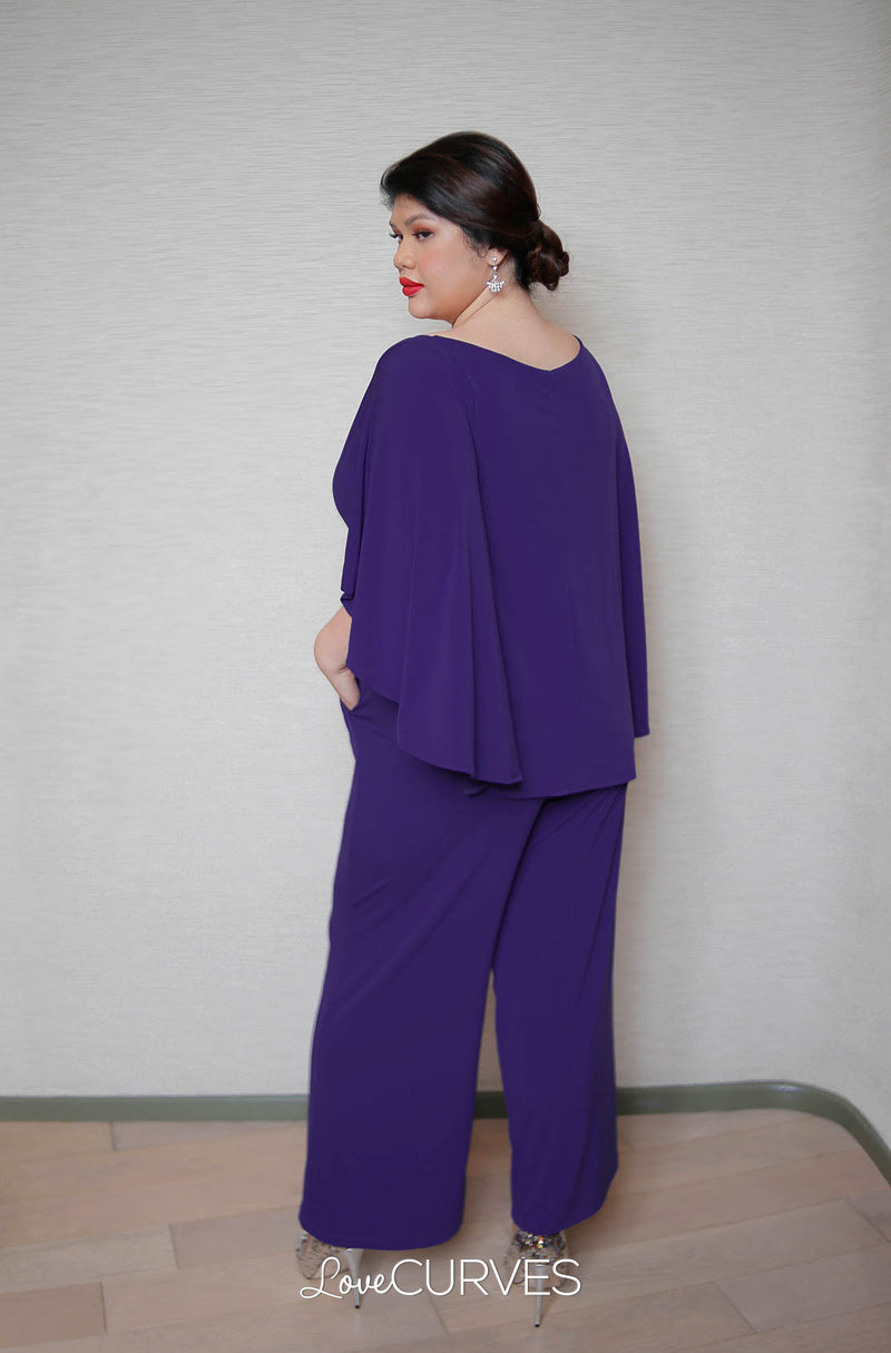 Cape Wrap Jumpsuit - Purple
