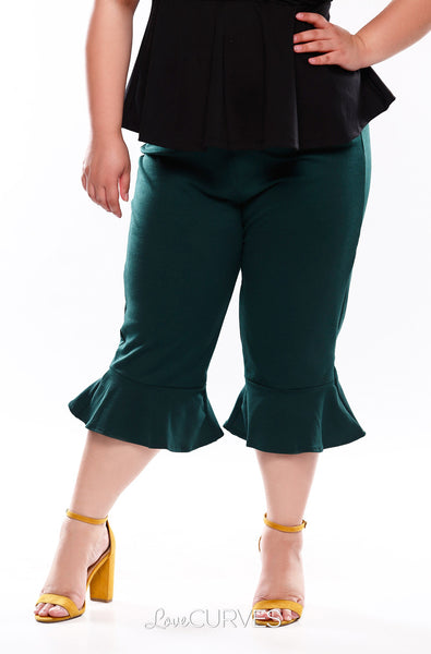 Frill Hem Cropped Pants with Side Pockets - Dark Green - OLI