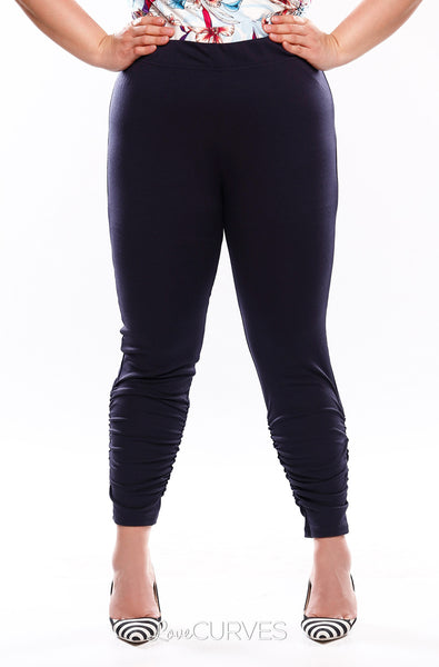 Ruched Leggings - Midnight Blue - KDR