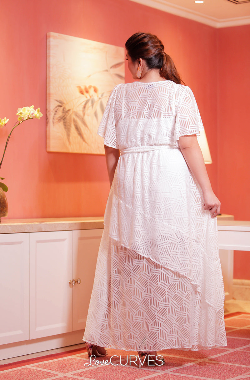 Ruffle Maxi Dress with Belt- White Rays