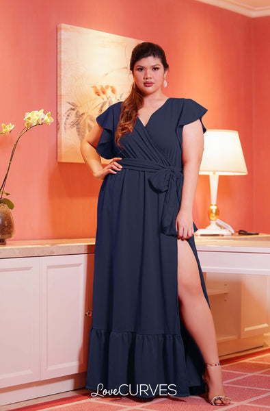 High Slit Ruffle Wrap Maxi Dress with Sash Belt- Dark Blue