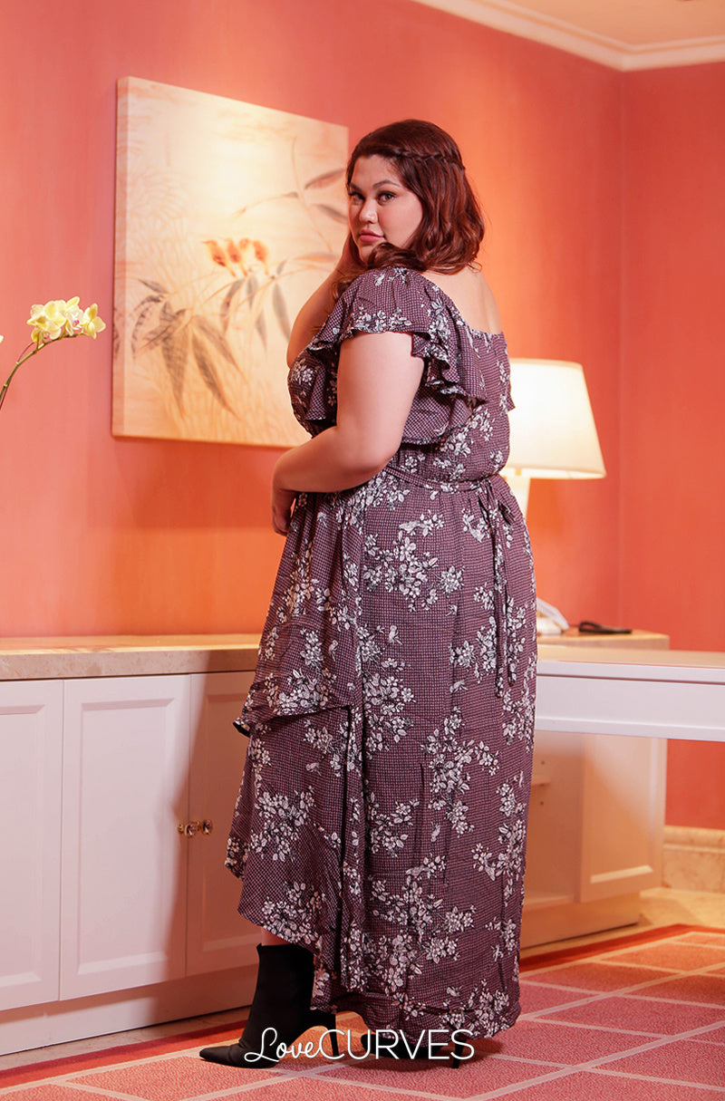 Square Neck Mullet Dress - Flowers on the Wall