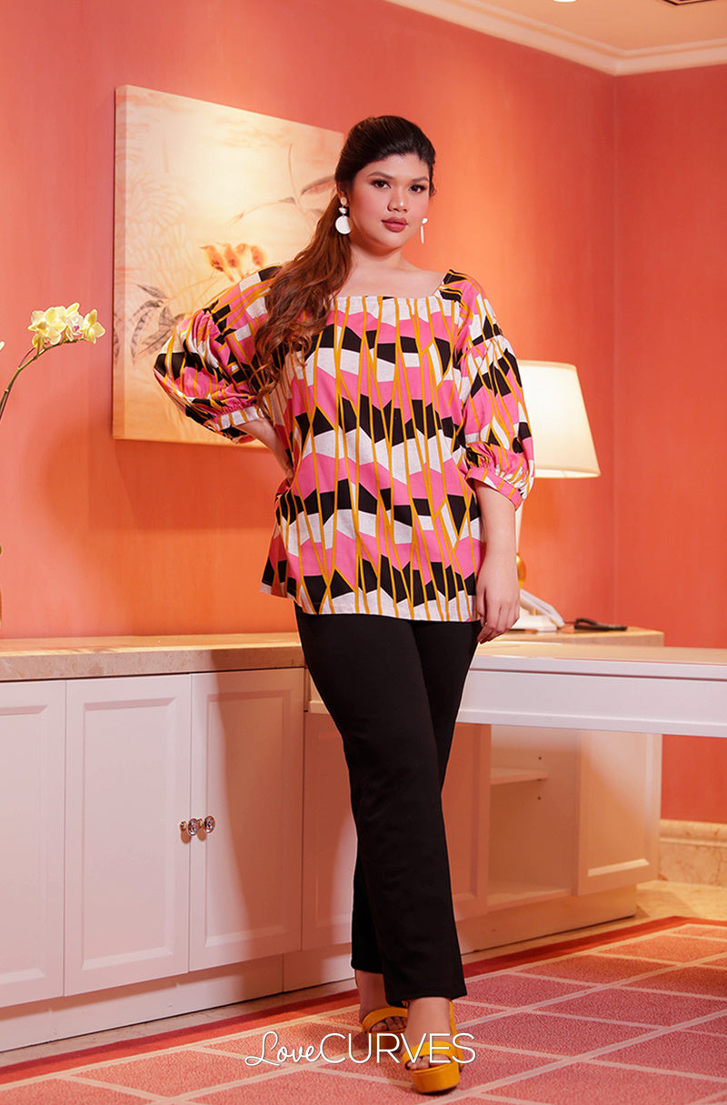Yoke Drop Shoulder Puff Sleeves Top - Pink Windows