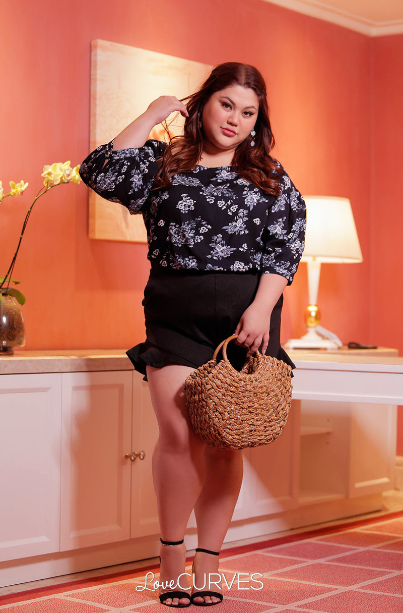Yoke Drop Shoulder Puff Sleeves Top - Floral Stamp Blue