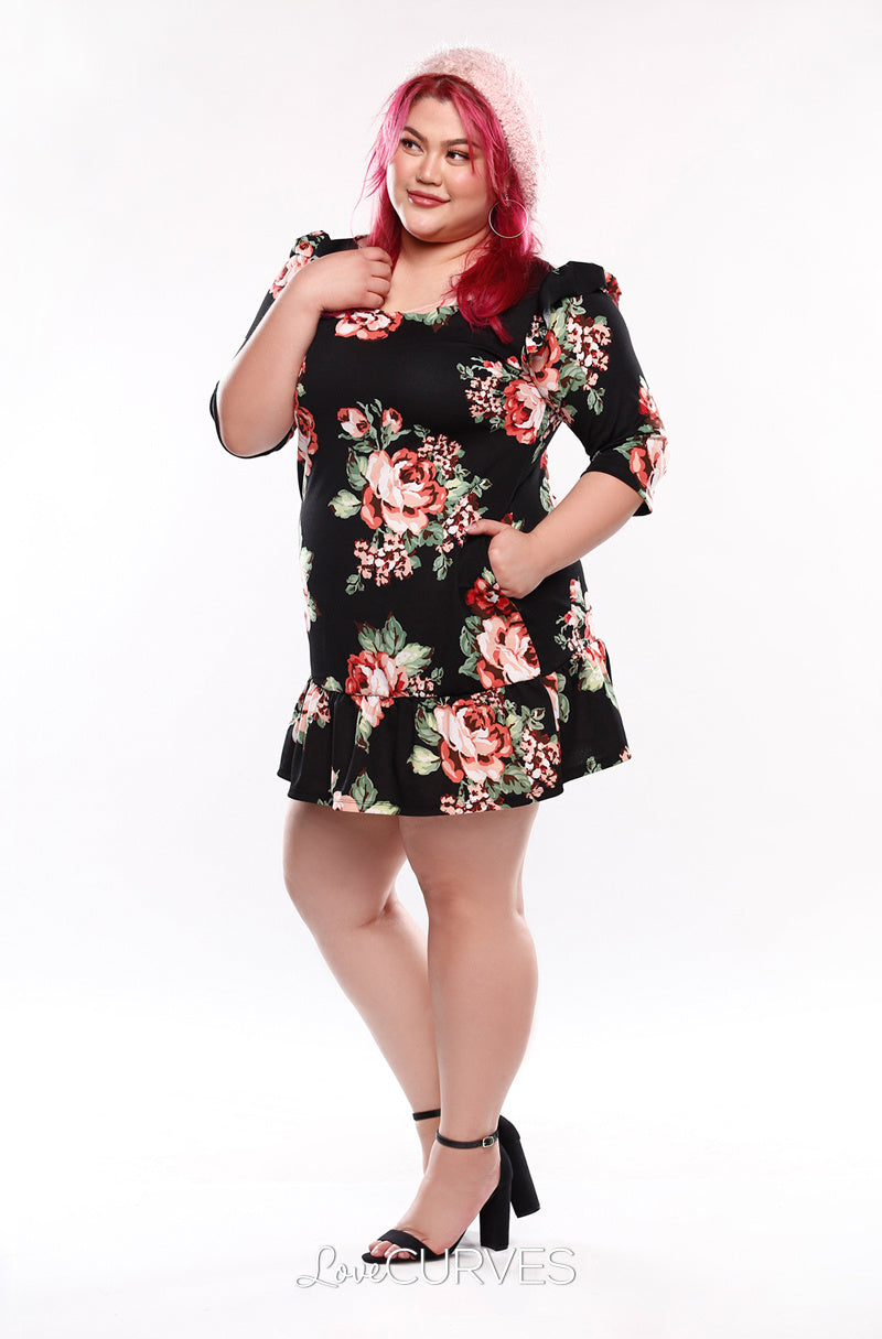 Drop Waist Ruffle Dress -Black Blossoms - KDR