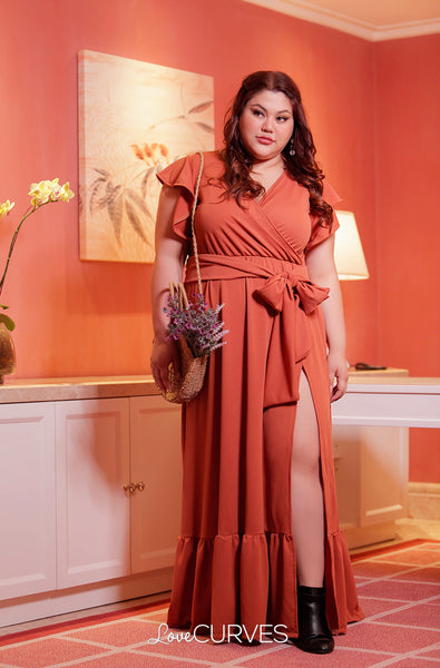 High Slit Ruffle Wrap Maxi Dress with Sash Belt- Terracotta