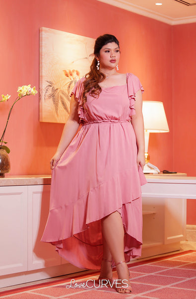 Square Neck Mullet Dress - Dull Rose
