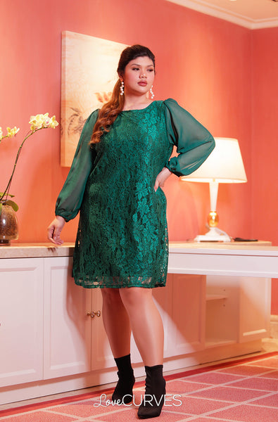 Bishop Sleeves Lace Dress - Bottle Green