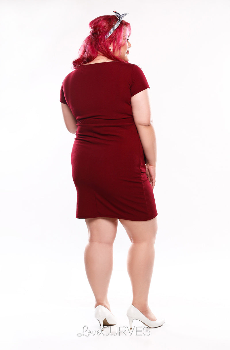 Cascade Wrap Dress - Maroon - KDR