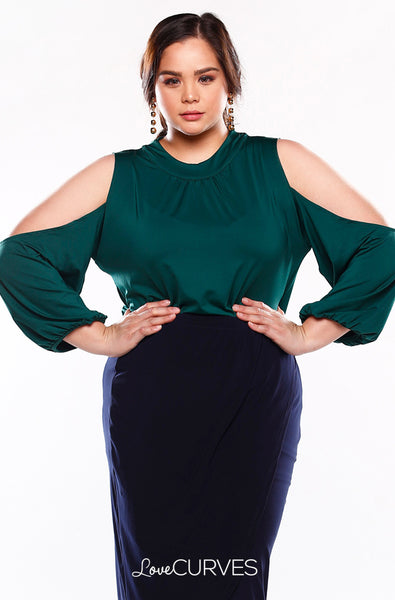Cold Shoulder Turtleneck Top - Green - KDR