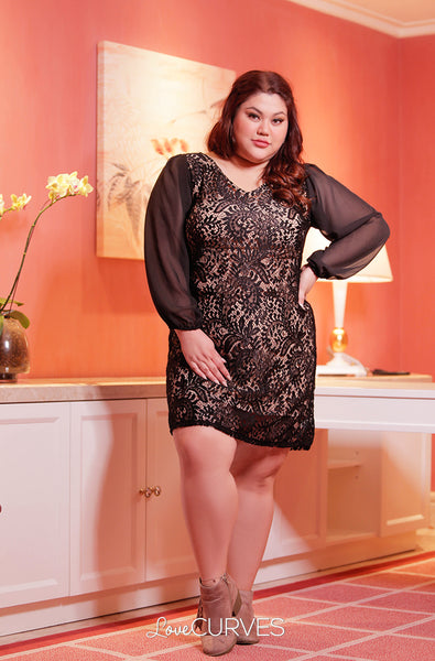 Bishop Sleeves Lace Dress - Black