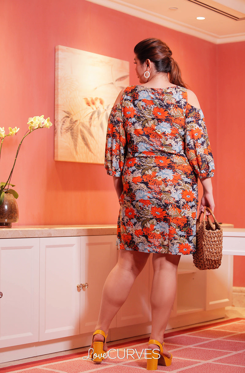 Cold Shoulder Bishop Sleeves Sheath Dress - Orange Flowers - OLI