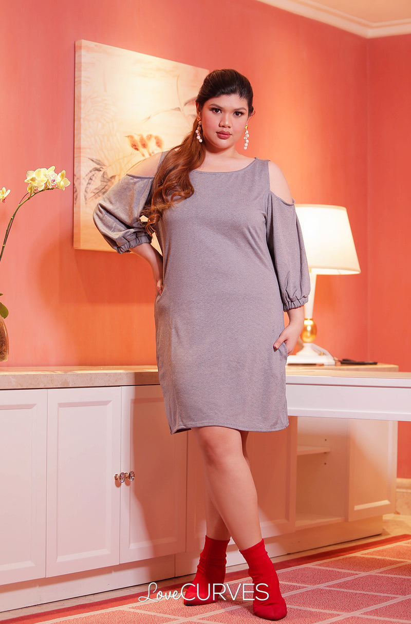 Cold Shoulder Bishop Sleeves Sheath Dress - Acid Gray - OLI