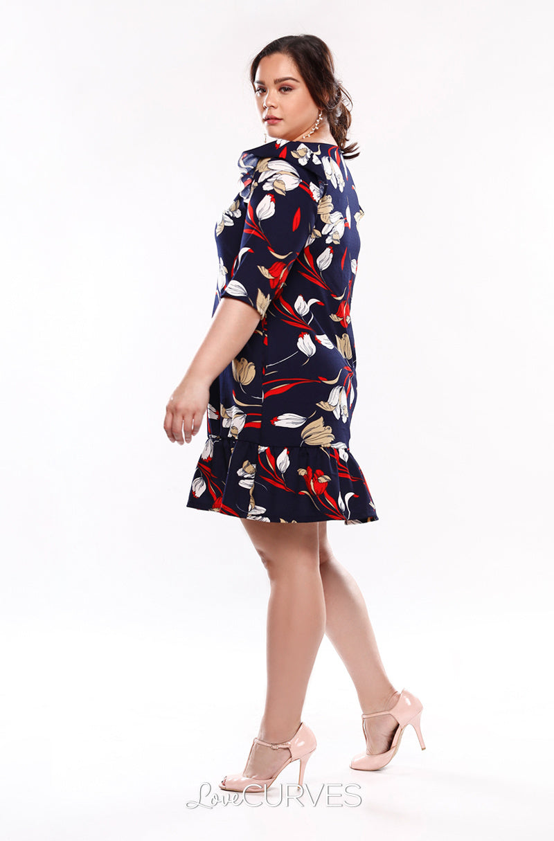 Drop Waist Ruffle Dress - Nautical Buds - KDR